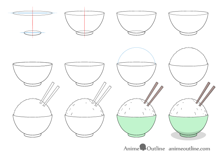 Rice bowl drawing step by step
