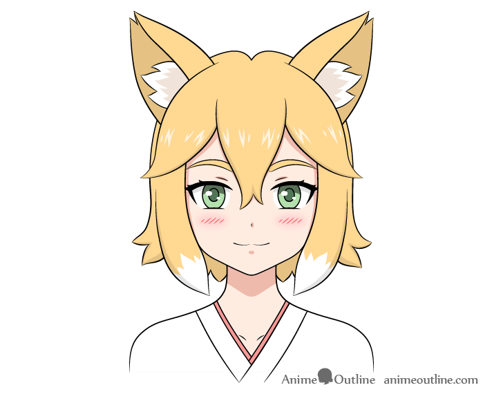 Anime fox girl drawing
