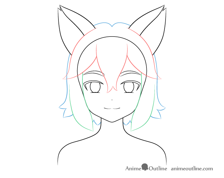 Anime fox girl hair back drawing