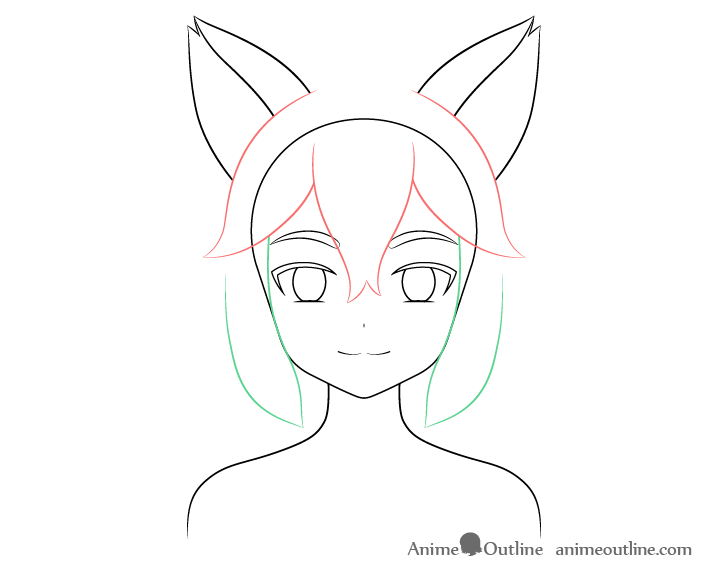 Anime fox girl hair sides drawing