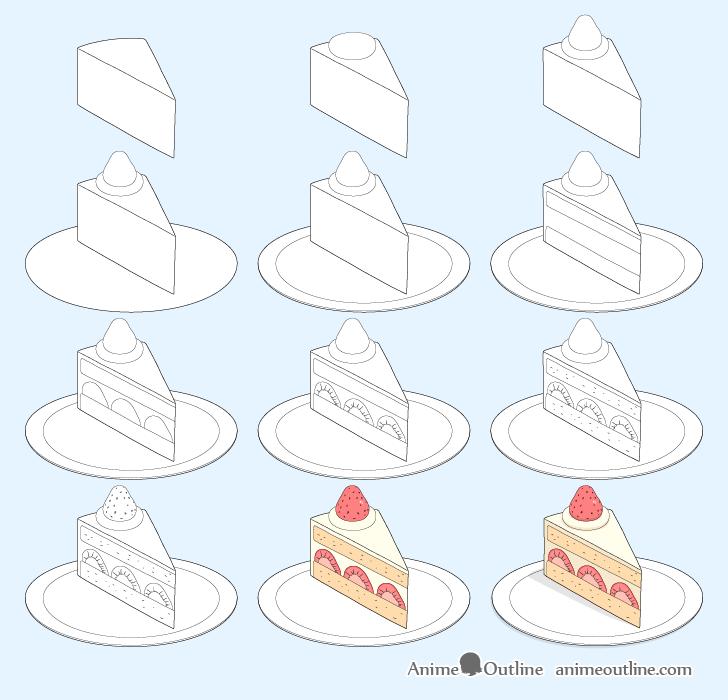 Cake slice drawing step by step