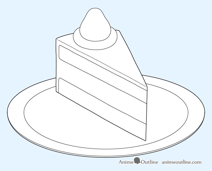 Cake slice layers drawing