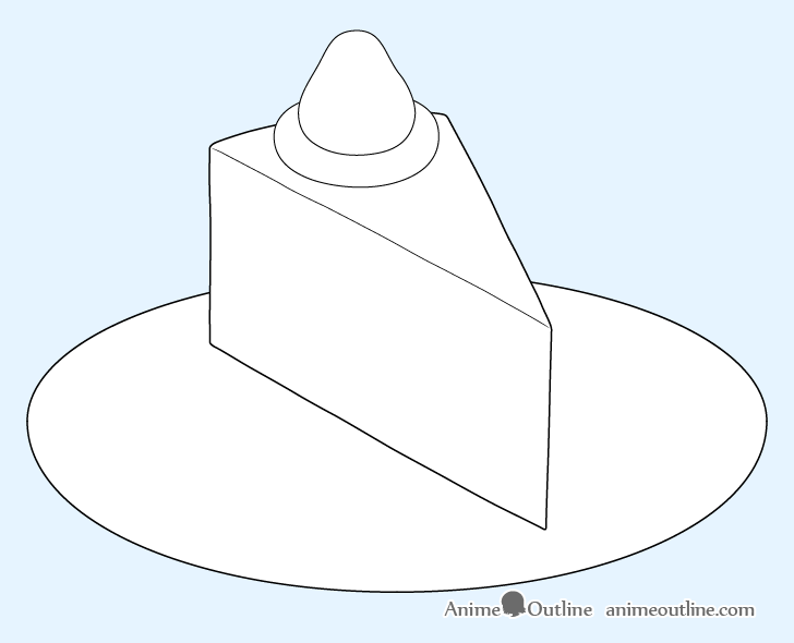 Cake slice plate outline drawing