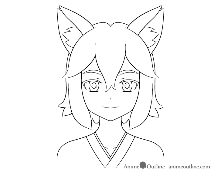 Anime fox girl clothes drawing