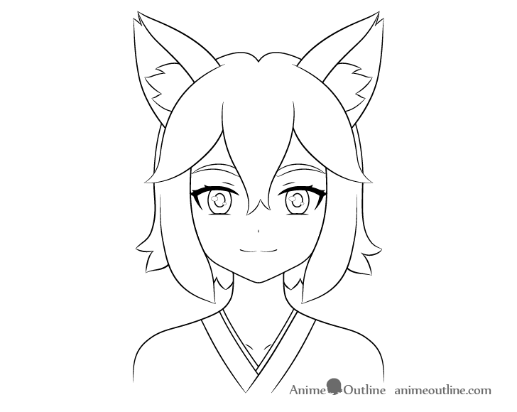 Anime fox girl line drawing