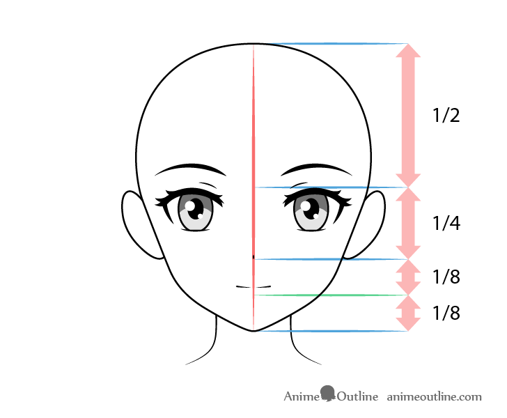 Anime mouth with other facial features drawing