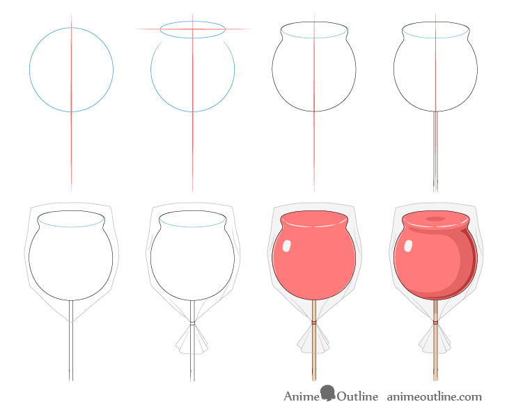 Candy apple drawing step by step
