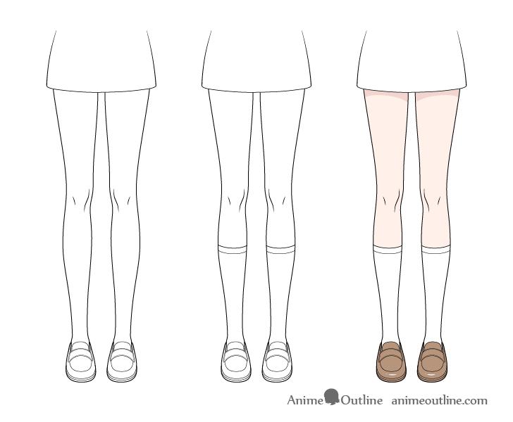 Anime socks drawing step by step