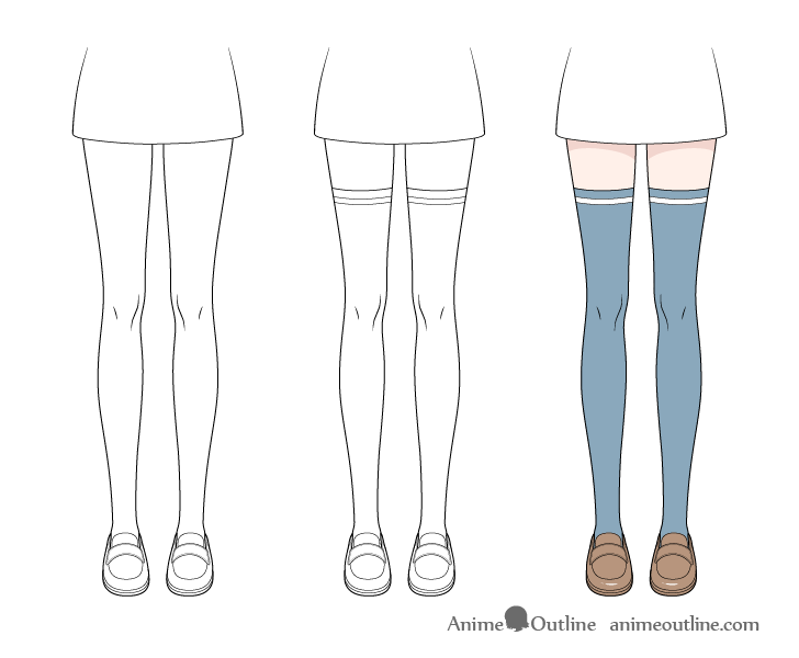 Anime stockings drawing step by step