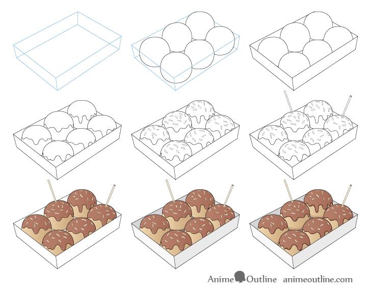 Takoyaki drawing step by step