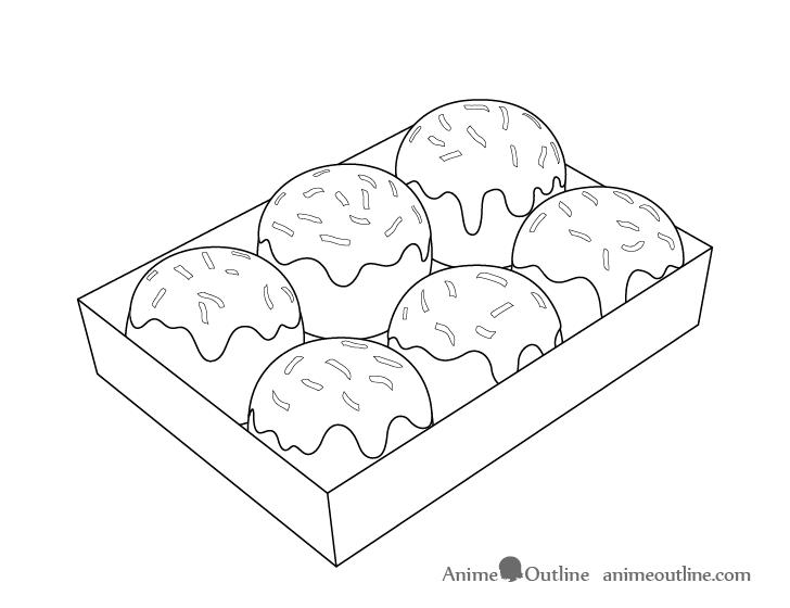 Takoyaki flakes drawing