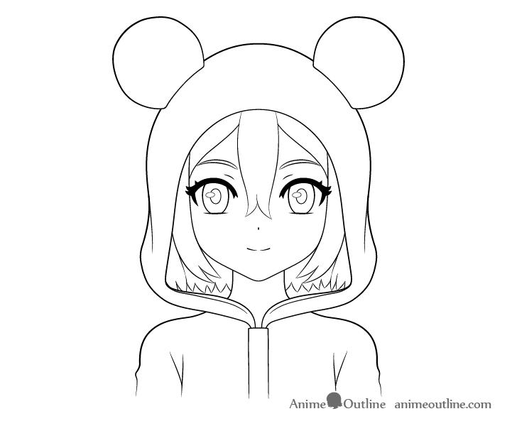 Anime panda girl eye details drawing