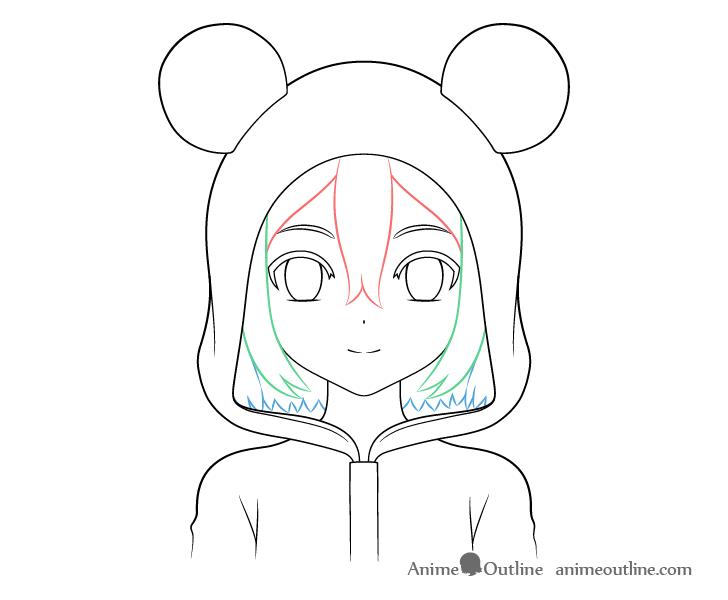 Anime panda girl back hair drawing