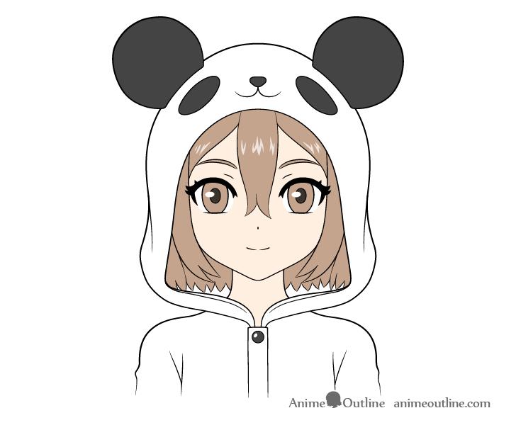 Anime panda girl drawing coloring