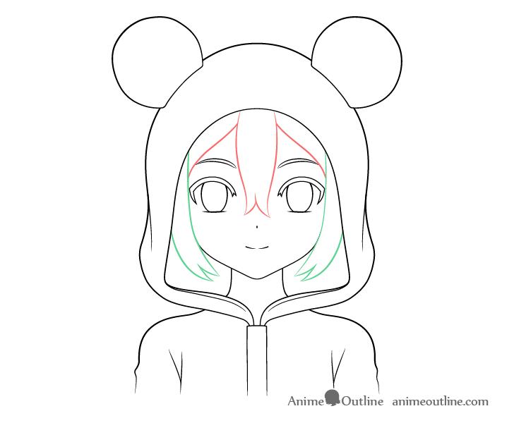 Anime panda girl front hair drawing