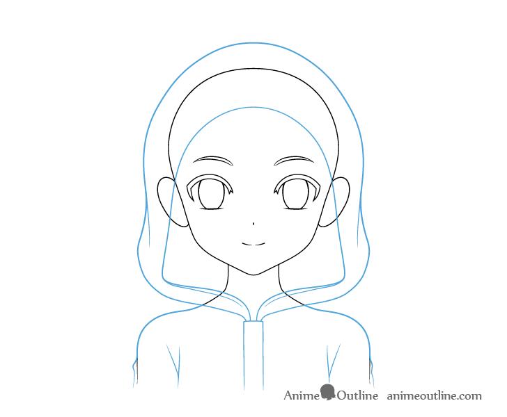 Anime panda girl hoodie see through drawing