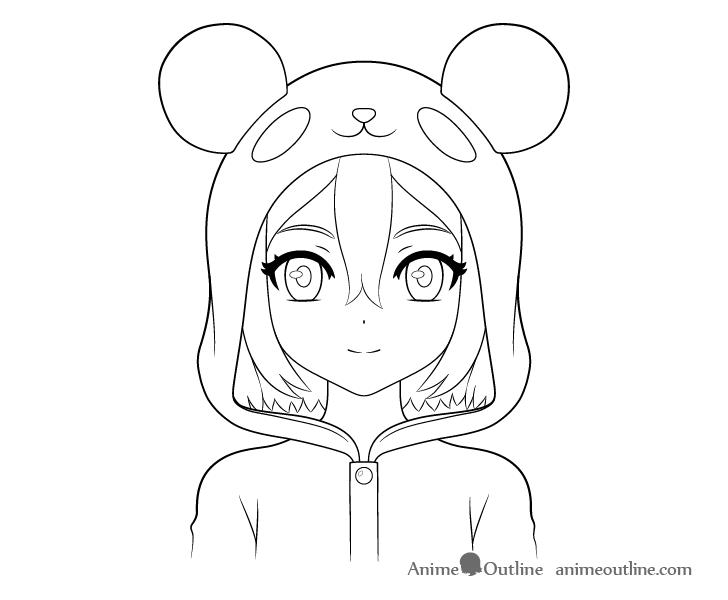 Anime panda girl line drawing