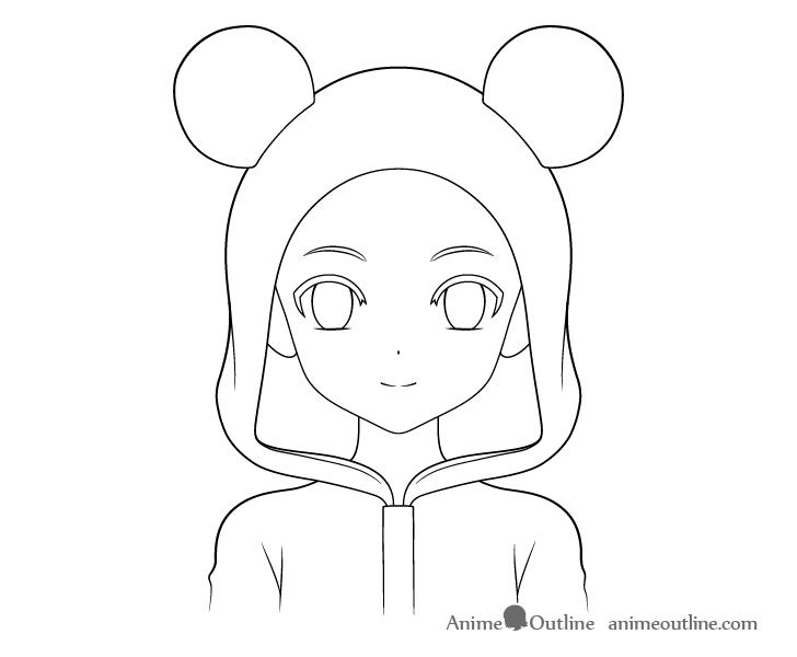 Anime panda girl ears drawing