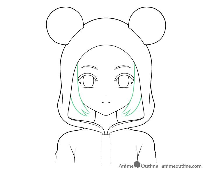 Anime panda girl sides hair drawing