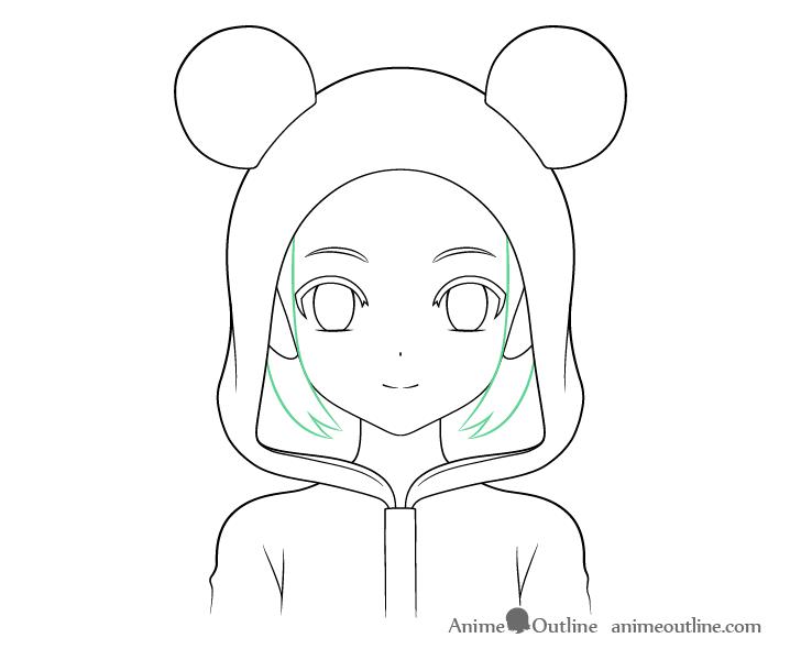 Anime panda girl sides hair see through drawing
