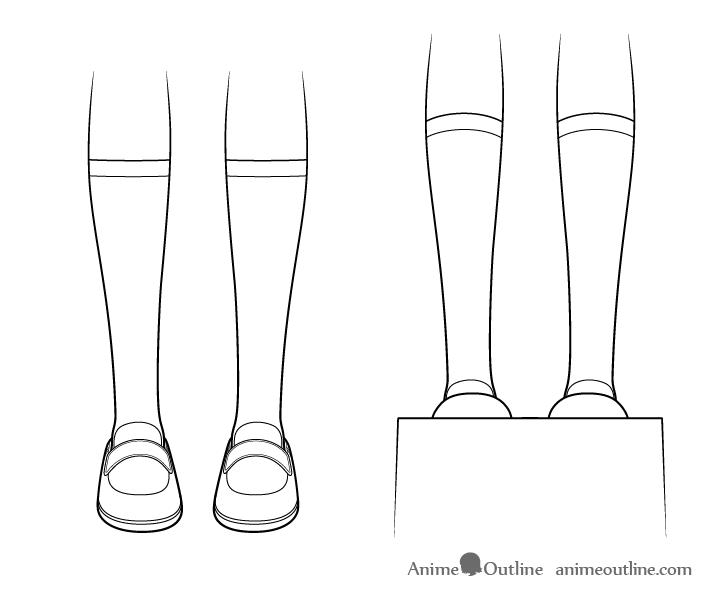 Anime socks eye level drawing